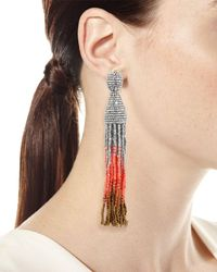 Oscar de la Renta - Metallic Ombre Crystal Tassel Earrings - Lyst