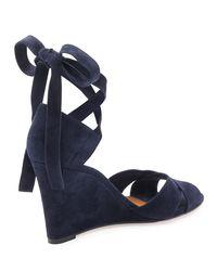 Aquazzura | Blue Tarzan Suede Ankle-wrap Wedge Sandal | Lyst