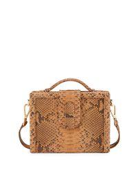 Ximena Kavalekas Brown Mandolin Python Box Shoulder Bag