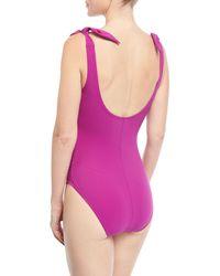 Karla Colletto Purple Barcelona V-neck Silent Underwire One-piece Swimsuit