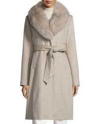 Sofia Cashmere - Natural Ls Fur Clr Wrap Coat - Lyst