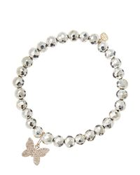 Sydney Evan | Metallic Silver Pyrite Beaded Bracelet With 14K Gold/Diamond Small Starburst Charm (Made To Order) | Lyst