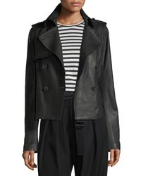 Vince Black Cropped Lamb Leather Trench Coat