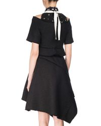 Proenza Schouler Black Laced Mock-neck Asymmetric Dress