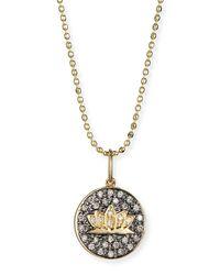 Sydney Evan - Metallic Lotus Medallion Necklace With Diamonds - Lyst