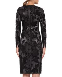 Akris - Black Sequined Long-sleeve Cocktail Dress - Lyst