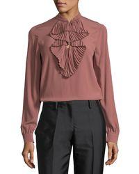 N°21 | Pink Ruffle-front Long-sleeve Silk Shirt W/ Embellishments | Lyst