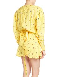 Balenciaga - Yellow Ruched Floral-print Midi Dress - Lyst