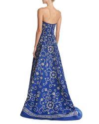 Oscar de la Renta | Blue Embroidered Strapless Silk Faille Gown | Lyst