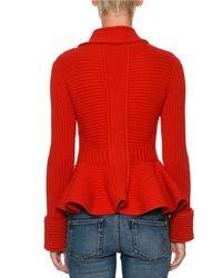 Alexander McQueen Red Chunky-knit Peplum Cardigan Jacket
