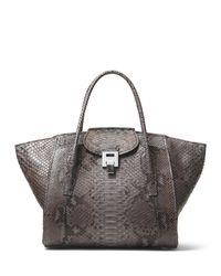 Michael Kors - Gray Bancroft Large Expandable Python Tote Bag - Lyst