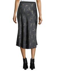 Vince - Gray Spring-floral Midi Slip Skirt - Lyst