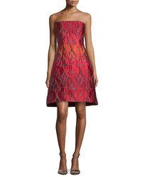 Alberta Ferretti - Pink Strapless Jacquard Party Dress - Lyst