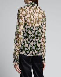 Jason Wu Collection Multicolor Floral-print Crinkled Chiffon Tie-neck Blouse