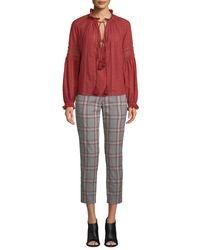 Veronica Beard Multicolor Farrow Button-detail Plaid Pants