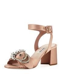 Miu Miu - Multicolor Satin Buckled Block-heel Sandal - Lyst