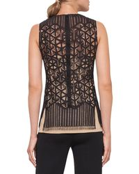 Akris - Black Sleeveless Geometric Lace Top - Lyst