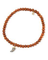 Sydney Evan Brown 14k Diamond Horn & Sandalwood Bracelet