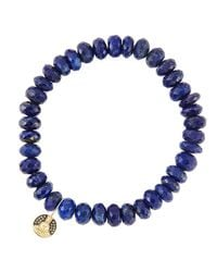 Sydney Evan - Metallic 8Mm Faceted Lapis Beaded Bracelet With 14K Gold/Diamond Small Buddha Charm (Made To Order) - Lyst