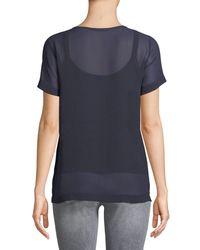 Max Mara Blue Domino Crewneck Short-sleeve Silk Blouse