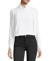 FRAME - White Turtleneck Long-sleeve Silk Blouse - Lyst
