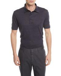 Ermenegildo Zegna - Blue Solid Linen Polo Shirt for Men - Lyst