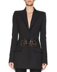 Alexander McQueen - Black Beaded Sheer-panel Jacket - Lyst