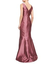 Carmen Marc Valvo - Multicolor Sleeveless Asymmetric-peplum Gown - Lyst
