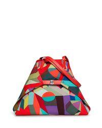 Akris Gray Ai Medium Printed Nylon Soft Shoulder Bag
