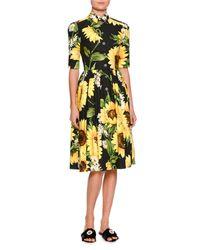 Dolce & Gabbana - Yellow Sunflower-print Cotton-poplin Shirtdress - Lyst