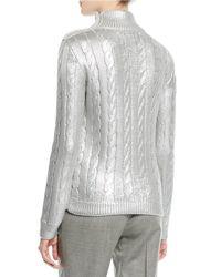 Ralph Lauren Collection Turtleneck Long-sleeve Metallic-knit Sweater With Button Shoulder