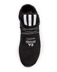 Y-3 Black Men's Saikou Double Primeknit Sneakers for men