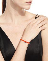 Sydney Evan   6mm Beaded Bright Orange Agate Bracelet With Diamond Eyelash Charm   Lyst