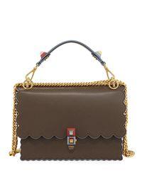 Fendi Brown Kan I Scalloped Leather Top-handle Bag