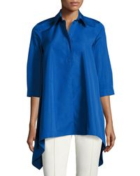 Max Mara | Blue Sateen Trapeze Blouse | Lyst