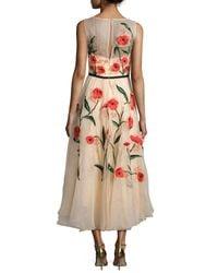 Lela Rose - Multicolor Floral-appliqué Sleeveless Midi Dress - Lyst