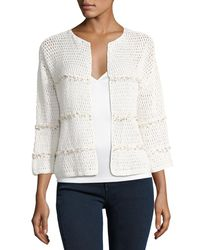 Joie - Natural Jacquine Open-front Cardigan Sweater - Lyst