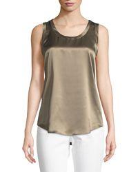 Lafayette 148 New York - Multicolor Perla Luxe Reversible Silk Charmeuse Shell - Lyst