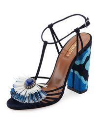 Aquazzura   Blue Samba Raffia T-strap 105mm Sandal   Lyst