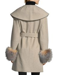 Sofia Cashmere - Multicolor Fur-cuff Open-front Belted Wool-cashmere Wrap Coat - Lyst