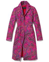 Etro - Pink Paisley Jacquard Single-breasted Topper Coat - Lyst