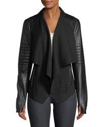 BLANC NOIR - Black Drape-front Quilted Faux-leather Jacket - Lyst
