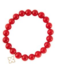 Sydney Evan - 8Mm Red Coral Beaded Bracelet With 14K Gold/Diamond Small Moroccan Flower Charm (Made To Order) - Lyst