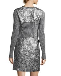 3.1 Phillip Lim - Gray Long-sleeve Metallic Rib-knit Combo Dress - Lyst