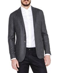 Giorgio Armani - Gray Basketweave Wool/cashmere Jacket for Men - Lyst