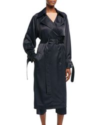 Vince Blue Drapey Belted Trench Coat