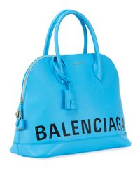 Balenciaga Blue Ville Aj Leather Satchel Bag W/cape