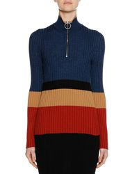 Marni - Blue Long-sleeve Turtleneck Colorblocked Wool-silk Knit Sweater - Lyst