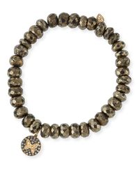 Sydney Evan - Metallic Champagne Pyrite Beaded Bracelet With Diamond Butterfly Medallion Charm - Lyst