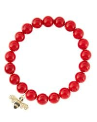 Sydney Evan | 8Mm Red Coral Beaded Bracelet With 14K Gold/Diamond Small Bee Charm (Made To Order) | Lyst